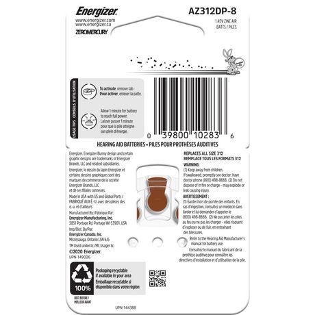Energizer EZ Turn & Lock Format 312, Emballage de 8, Brun - image 3 de 9