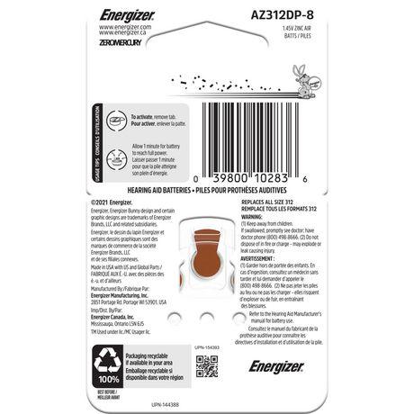 Energizer EZ Turn & Lock Format 312, Emballage de 8, Brun - image 5 de 9