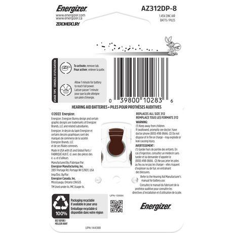 Energizer EZ Turn & Lock Format 312, Emballage de 8, Brun - image 6 de 9