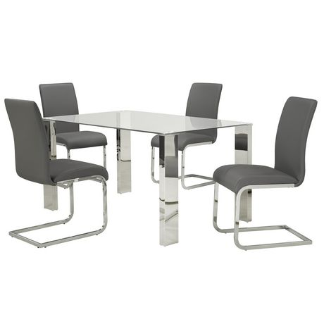Set Of 2 Faux Leather Dining Chair In Grey Walmart Canada