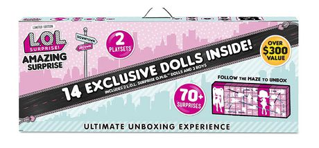 Pink and green boxed set from L.O.L. Surprise containing 14 dolls and more than 70 surprise accessories