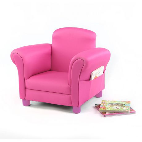 fauteuil de lecture confortable de tot tutors en rose avec rangement de livres. Black Bedroom Furniture Sets. Home Design Ideas