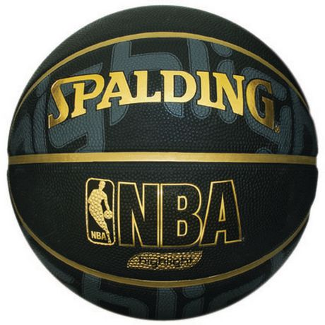 Black with gold trim basketball with Spalding and NBA imprinted on it