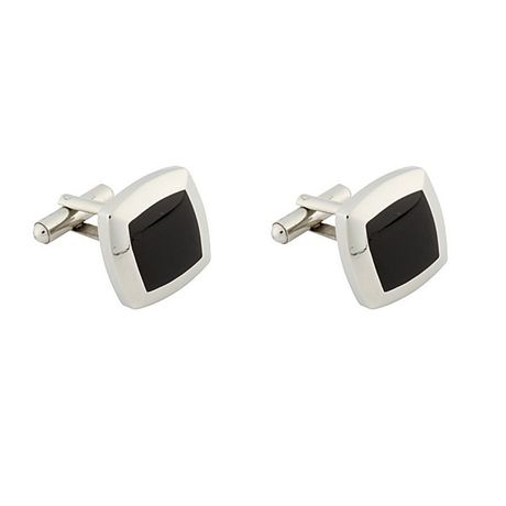 Pair of stainless steel cufflinks with black square in the centre
