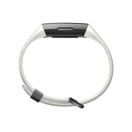 Fitbit Charge 3 Bracelet évolué pour l'entraînement - édition spéciale, boîtier en aluminium graphite, bracelet silicone blanc - image 4 de 5