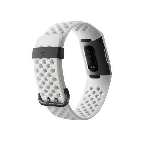 Fitbit Charge 3 Bracelet évolué pour l'entraînement - édition spéciale, boîtier en aluminium graphite, bracelet silicone blanc - image 5 de 5