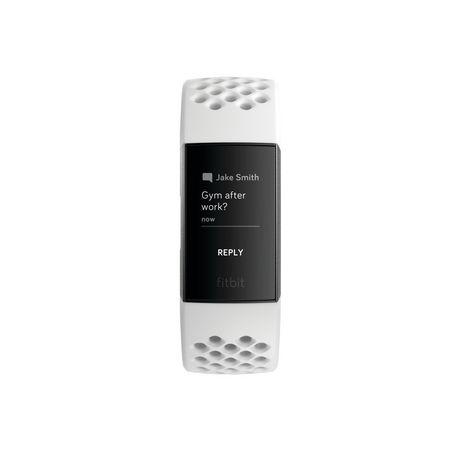 Fitbit Charge 3 Bracelet évolué pour l'entraînement - édition spéciale, boîtier en aluminium graphite, bracelet silicone blanc - image 2 de 5