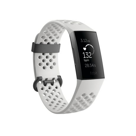 Fitbit Charge 3 Advanced Fitness Tracker - Special Edition, Graphite Aluminum Case, White Silicone Band