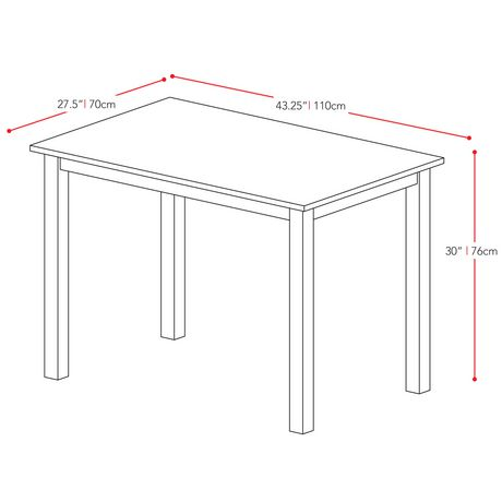 """CorLiving Atwood 43"""" x 28"""" Cappuccino Stained Dining Table - image 4 of 4"""