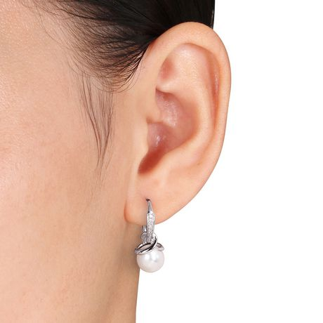 Miabella 8-8.5mm Cultured Freshwater Pearl and Diamond-Accent Sterling Silver Earrings and Pendant Set - image 3 of 4