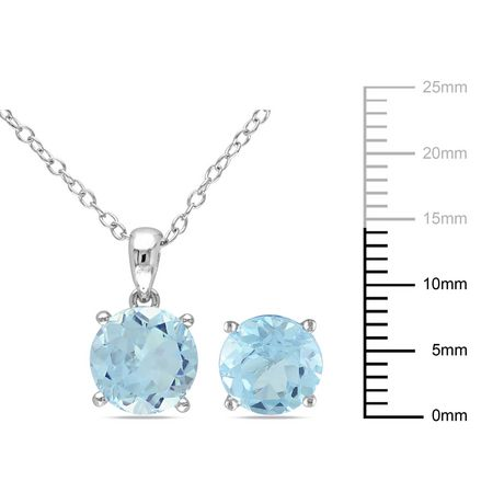 Tangelo 6-3/8 Carat T.G.W. Blue Topaz Sterling Silver Solitaire Pendant and Stud Earrings Set - image 2 of 4