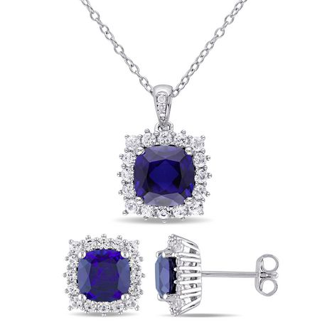 Tangelo 8-1/2 Carat T.G.W. Created Blue and White Sapphire with Diamond-Accent Sterling Silver Halo Earrings and Pendant Set - image 1 of 4