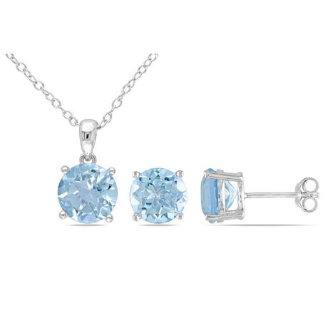 Tangelo 6-3/8 Carat T.G.W. Blue Topaz Sterling Silver Solitaire Pendant and Stud Earrings Set - image 1 of 4