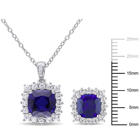 Tangelo 8-1/2 Carat T.G.W. Created Blue and White Sapphire with Diamond-Accent Sterling Silver Halo Earrings and Pendant Set - image 2 of 4