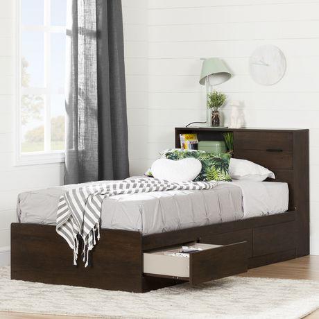 south shore fynn t te de lit biblioth que simple 39 ch ne brun walmart canada. Black Bedroom Furniture Sets. Home Design Ideas