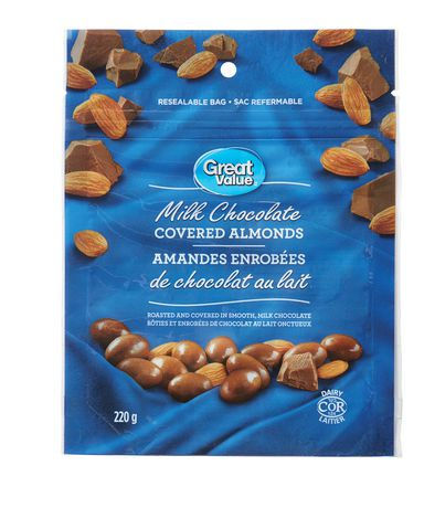 Great Value Milk Chocolate Covered Almonds Walmart Canada