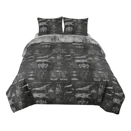 couette architecture de batman pour lit 2 places grand lit. Black Bedroom Furniture Sets. Home Design Ideas