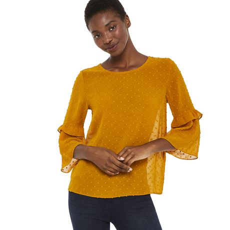 George Women's Ruffle Bell Sleeve Blouse - image 1 of 6