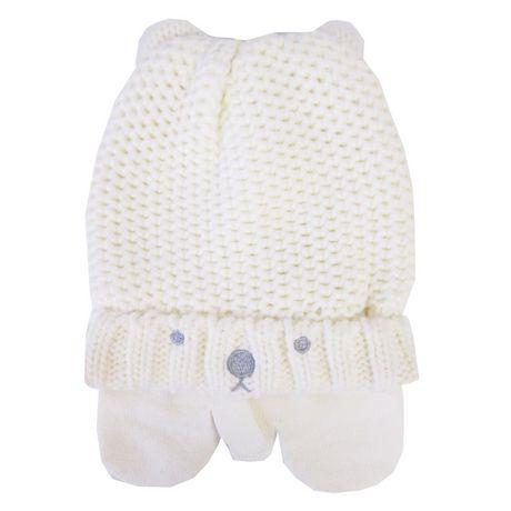 Bonnet en tricot doublé en molleton avec mitaines pour bébé fille ... d98d51a3f38