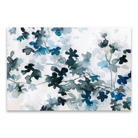 Artissimo Blue Cherry Blossoms Coated Embellished Canvas - 36W x 24H x 1.25D