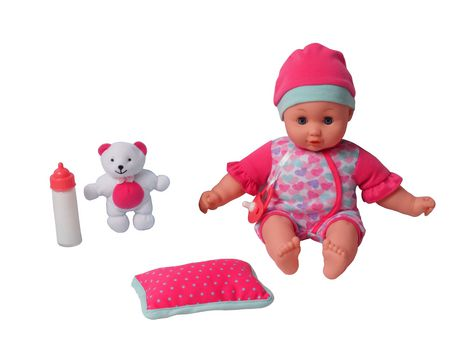 Baby doll with pink clothing, pink pillow, pink and white teddy bear and pink and white baby bottle, made by My Sweet Baby