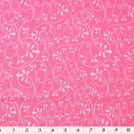 Fabric Creations Pink Whimsical Swirl Tree Cotton Fabric by the Metre - image 1 of 1