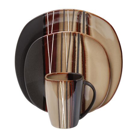 hometrends 16 Piece Bazaar Brown Dinnerware Set  sc 1 st  Walmart Canada : brown dinnerware - pezcame.com