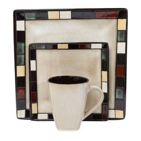 Hometrends Mosaic Tile 16 Piece Dinnerware Set Walmart