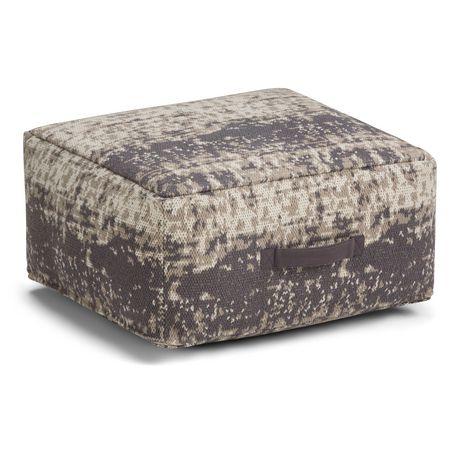 Daryl - Pouf carré à motifs en taupe et gris - image 1 de 5