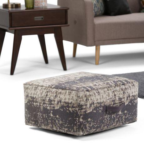 Daryl - Pouf carré à motifs en taupe et gris - image 2 de 5