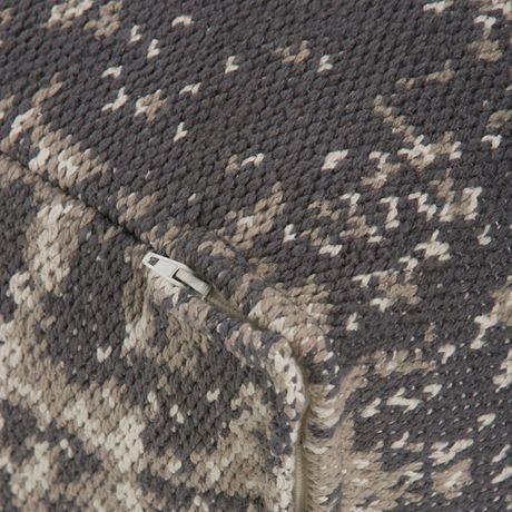 Daryl - Pouf carré à motifs en taupe et gris - image 4 de 5