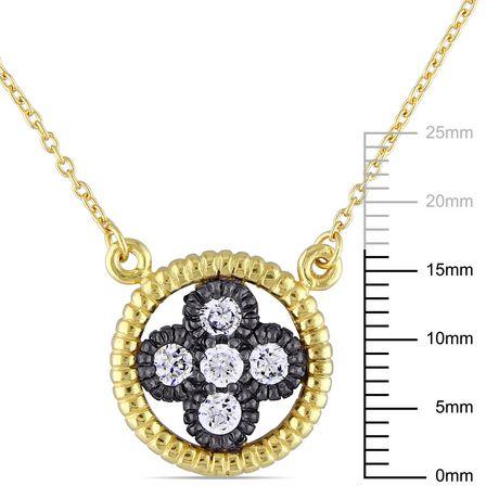 Collier floral avec zircons cubiques 0,90 CT PBT en argent sterling double ton, 18 po - image 2 de 4