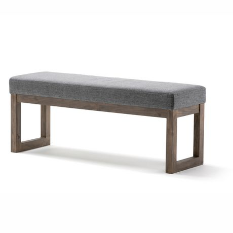 WyndenHall Madison Linen Look Large Ottoman Bench in Grey - image 1 of 5