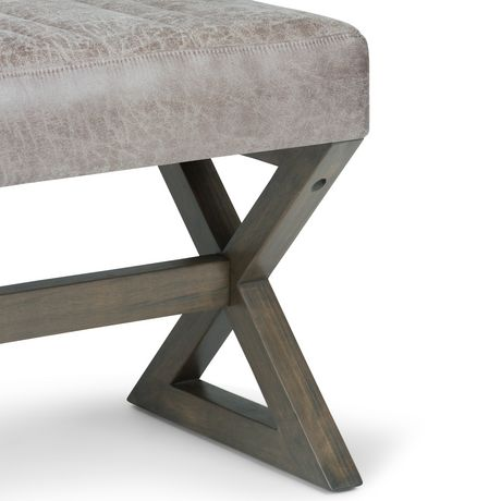 WyndenHall David Ottoman Bench in Distressed Grey Taupe Faux Air Leather - image 3 of 5