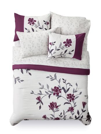 Mainstays Bed In A Bag Purple Floral Bedding Set Walmart