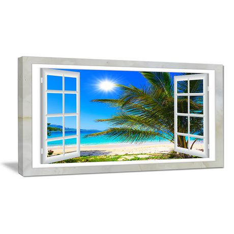 Design Art Window Open to Beach with Palm Extra Large Seashore Canvas Art Print - image 1 of 2