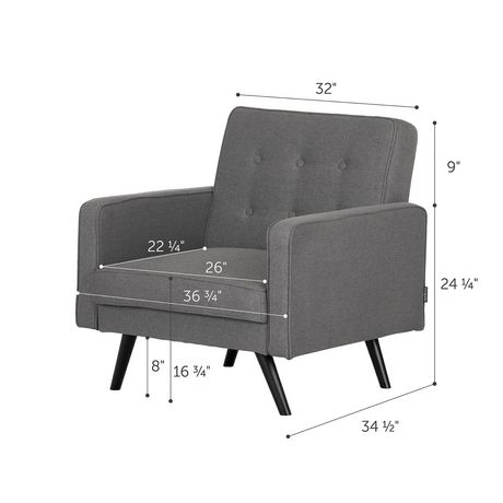 South Shore Live-it Essential Convertible 1-Seat Sofa-Dark Gray - image 5 of 8