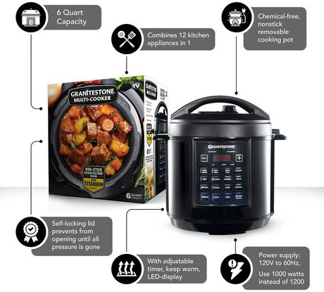 GraniteStone Diamond 12-in-1 Multicooker with LED Display, Electric Pressure Cooker, Slow Cooker, Rice Cooker, Steamer, Saute, Yogurt Maker and Warmer, 6 Quart, 12 Pre-Set Functions - image 2 of 6