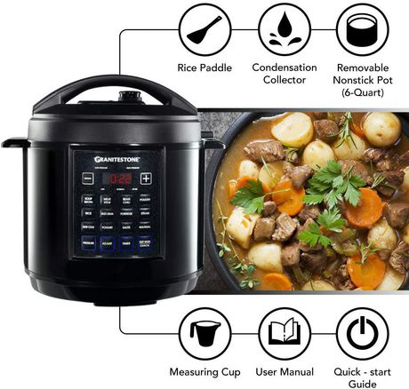 GraniteStone Diamond 12-in-1 Multicooker with LED Display, Electric Pressure Cooker, Slow Cooker, Rice Cooker, Steamer, Saute, Yogurt Maker and Warmer, 6 Quart, 12 Pre-Set Functions - image 4 of 6