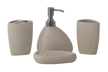 kieragrace Muskoka ensemble Baird de 4 accessoires pour salle de bains – Céramique pierre mate - image 1 de 6