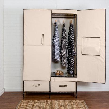 Honey Can Do Double Door Wardrobe With 2 Drawers Walmart Canada