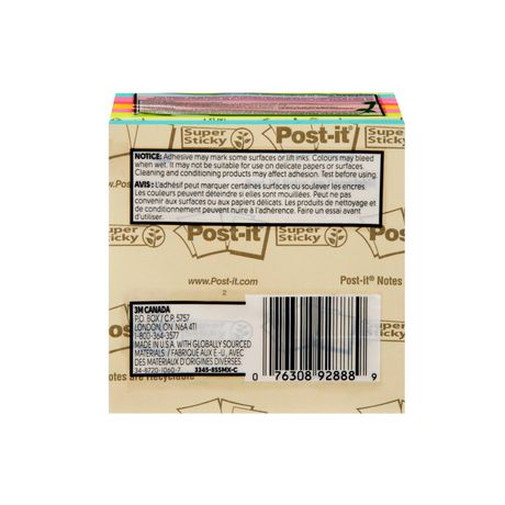 Post-it® Super Sticky Notes, 3345-8SSMX-C, Assorted - image 3 of 4