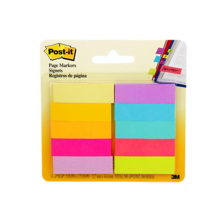 POST - IT Post-it® Page Markers, Assorted Brights, 1/2 in X 2 in (1.3 Cm X 5 Cm) - image 1 of 5