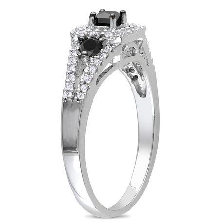 Bague de Mode Asteria avec 0.50 Carat de Diamant Noir et Blanc en Argent Sterling - image 2 de 2