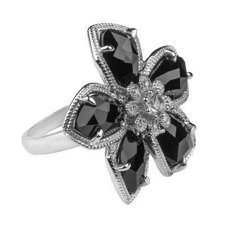 c1983b34b Sterling Silver Onyx & Diamond Flower Ring | Walmart Canada