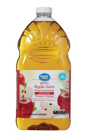 Great Value 100% Low Acid Pure Apple Juice 1.89L - image 1 of 3