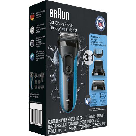 Rasoir électrique 3-en-1 Peau sèche et mouillée de Braun Series 3 Shave&Style 3010BT - image 2 de 5