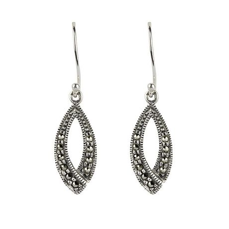 28867a610 Sterling Silver Marcasite Open Drop Earrings - image 2 of 2 ...