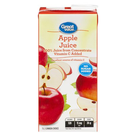 Great Value 100% Pure Apple Juice from Concentrate 1L - image 1 of 2
