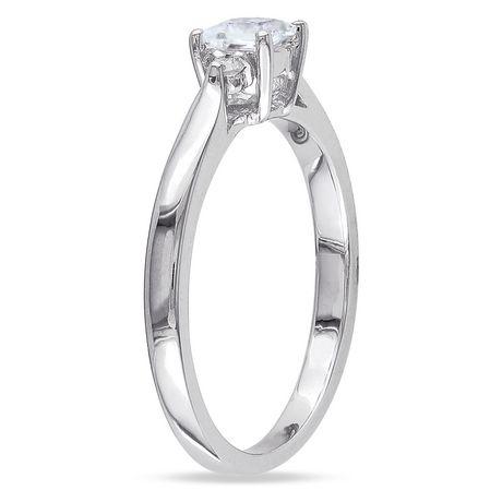 Bague de Promesse Miabella avec 0.30 Carat de Saphir Blanc Synthétique de Coupe Princesse et Accents de Diamant en Argent Sterling - image 2 de 2